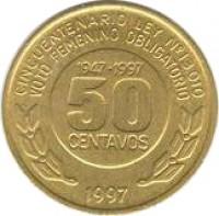 reverse of 50 Centavos - Women's Vote (1997) coin with KM# 121 from Argentina. Inscription: CINCUENTENARIO LEY N° 13.010 VOTO FEMENINO OBLIGATORIO 1947-1997 50 CENTAVOS 1997