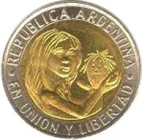 obverse of 1 Peso - Unicef (1996) coin with KM# 120 from Argentina. Inscription: REPUBLICA ARGENTINA .EN UNION Y LIBERTAD.