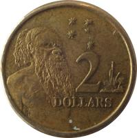 reverse of 2 Dollars - Elizabeth II - 3'rd Portrait (1988 - 1998) coin with KM# 101 from Australia. Inscription: 2 DOLLARS