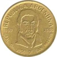 obverse of 50 Centavos - Death of General San Martin (2000) coin with KM# 130 from Argentina. Inscription: REPUBLICA ARGENTINA 1850 2000 GRAL. Dn. JOSE DE SAN MARTIN
