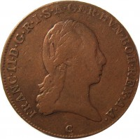 obverse of 3 Kreuzer - Franz II (1799 - 1803) coin with KM# 2115 from Austria. Inscription: FRANC · II · D · G · R · I · S · A · GER · HVN · BOH · REX · A · A · A