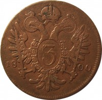 reverse of 3 Kreuzer - Franz II (1799 - 1803) coin with KM# 2115 from Austria. Inscription: 3 1800