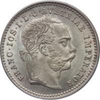 obverse of 10 Kreuzer - Franz Joseph I (1868 - 1872) coin with KM# 2206 from Austria. Inscription: FRANC · IOS · I · D · G · AVSTRIAE IMPERATOR