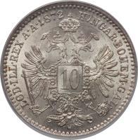 reverse of 10 Kreuzer - Franz Joseph I (1868 - 1872) coin with KM# 2206 from Austria. Inscription: LOD · ILL · REX A · A · 1868 HUNGAR · BOHEM · GAL · 10