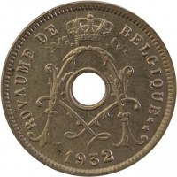 obverse of 5 Centimes - Albert I - French text (1932) coin with KM# 93 from Belgium. Inscription: ROYAUME DE BELGIQUE ** 1932