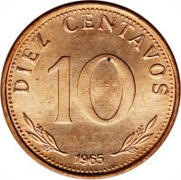 reverse of 10 Centavos (1965 - 1973) coin with KM# 188 from Bolivia. Inscription: DIEZ CENTAVOS 10 1965