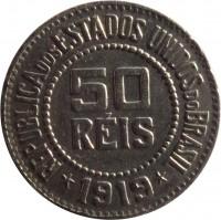 obverse of 50 Réis (1918 - 1935) coin with KM# 517 from Brazil. Inscription: REPUBLICA DOS ESTADOS UNIDOS DO BRAZIL 50 RÉIS * 1919 *