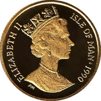 obverse of 1/25 Crown - Elizabeth II - New York Alley Cat (1990) coin with KM# 277 from Isle of Man. Inscription: ELIZABETH II ISLE OF MAN·1990 PM