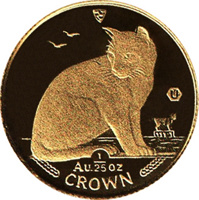 reverse of 1/25 Crown - Elizabeth II - New York Alley Cat (1990) coin with KM# 277 from Isle of Man. Inscription: Au. 1/25 oz CROWN