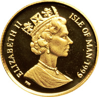 obverse of 1/25 Crown - Elizabeth II - Blue British Short Hair Cat (1999) coin with KM# 958 from Isle of Man. Inscription: ELIZABETH II ISLE OF MAN·1999