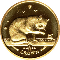 reverse of 1/25 Crown - Elizabeth II - Blue British Short Hair Cat (1999) coin with KM# 958 from Isle of Man. Inscription: 999·9 Au1/25 oz. CROWN
