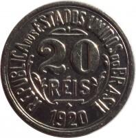 obverse of 20 Réis (1918 - 1935) coin with KM# 516 from Brazil. Inscription: REPUBLICA DOS ESTADOS UNIDOS DO BRASIL 20 RÉIS 1920