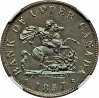 obverse of 1/2 Penny - Bank of Upper Canada Token (1850 - 1857) coin with BR# 720 from Canadian provinces. Inscription: BANK OF UPPER CANADA 1854