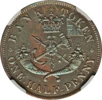 reverse of 1/2 Penny - Bank of Upper Canada Token (1850 - 1857) coin with BR# 720 from Canadian provinces. Inscription: BANK TOKEN ONE HALF-PENNY