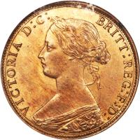 obverse of 1 Cent - Victoria (1861 - 1864) coin with KM# 8 from Canadian provinces. Inscription: VICTORIA D:G: BRITT:REG:F:D: