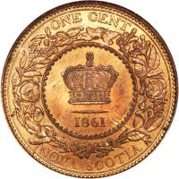 reverse of 1 Cent - Victoria (1861 - 1864) coin with KM# 8 from Canadian provinces. Inscription: ONE CENT 1861 NOVA SCOTIA