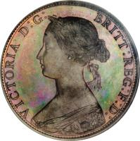 obverse of 1 Cent - Victoria (1861 - 1864) coin with KM# 6 from Canadian provinces. Inscription: VICTORIA D:G: BRITT:REG:F:D: