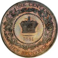 reverse of 1 Cent - Victoria (1861 - 1864) coin with KM# 6 from Canadian provinces. Inscription: ONE CENT 1861 NEW BRUNSWICK