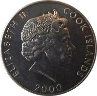 obverse of 5 Cents - Elizabeth II - FAO (2000) coin with KM# 369 from Cook Islands. Inscription: ELIZABETH II COOK ISLANDS 2000