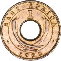 reverse of 1 Cent - George V (1922 - 1935) coin with KM# 22 from British East Africa. Inscription: EAST AFRICA 1 1923
