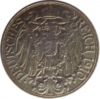 obverse of 25 Pfennig - Wilhelm II (1909 - 1912) coin with KM# 18 from Germany. Inscription: DEUTSCHES REICH 1910