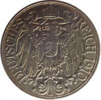 obverse of 25 Pfennig - Wilhelm II (1909 - 1912) coin with KM# 18 from Germany. Inscription: DEUTSCHES REICH 1910