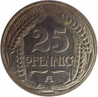 reverse of 25 Pfennig - Wilhelm II (1909 - 1912) coin with KM# 18 from Germany. Inscription: 25 PFENNIG A