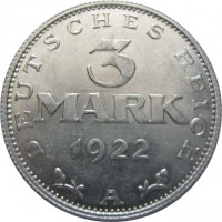 reverse of 3 Mark (1922) coin with KM# 28 from Germany. Inscription: DEUTSCHES REICH 3 MARK 1922