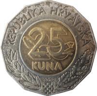 reverse of 25 Kuna - Accession Treaty to the European Union (2011) coin with KM# 98 from Croatia. Inscription: REPUBLIKA HRVATSKA 25 KUNA