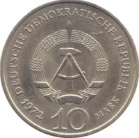 obverse of 10 Mark - Buchenwald Concentration Camp Memorial (1972) coin with KM# 38 from Germany. Inscription: DEUTSCHE DEMOKRATISCHE REPUBLIK A 1972 10 MARK