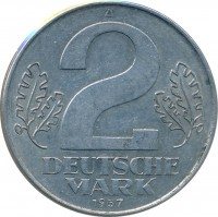 reverse of 2 Mark (1957) coin with KM# 14 from Germany. Inscription: A 2 DEUTSCHE MARK 1957