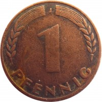 reverse of 1 Pfennig (1948 - 1949) coin with KM# A101 from Germany. Inscription: F 1 PFENNIG