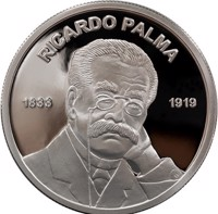 obverse of 1 Sol - 100 years of the death of Ricardo Palma (2019) coin from Peru. Inscription: RICARDO PALMA 1833 1919