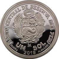 reverse of 1 Sol - 100 years of the death of Ricardo Palma (2019) coin from Peru. Inscription: BANCO CENTRAL DE RESERVA DEL PERÚ UN SOL 33,625g 2019 PLATA 0,925