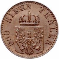 obverse of 1 Pfenning - Wilhelm I (1861 - 1873) coin with KM# 480 from German States. Inscription: 360 EINEN THALER