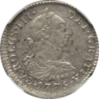 obverse of 1 Real - Carlos III (1773 - 1786) coin with KM# 52 from Bolivia. Inscription: CARLOS · III · DEI · GRATIA · 1775