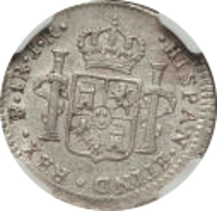reverse of 1 Real - Carlos III (1773 - 1786) coin with KM# 52 from Bolivia. Inscription: · HISPAN · ETIND · REX · PTS · 1 R · J · R ·