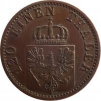 obverse of 3 Pfenninge - Wilhelm I (1861 - 1873) coin with KM# 482 from German States. Inscription: 120 EINEN THALER