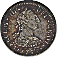 obverse of 1 Real - Carlos III (1786 - 1789) coin with KM# 52a from Bolivia. Inscription: CAROLUS·III·DEI·GRATIA