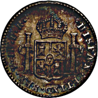 reverse of 1 Real - Carlos III (1786 - 1789) coin with KM# 52a from Bolivia. Inscription: HISPAN·ET IND·REX