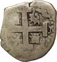 obverse of 2 Reales - Felipe V (1701 - 1728) coin with KM# 32 from Peru. Inscription: PHILIPPVS V D • G • HISPANIA