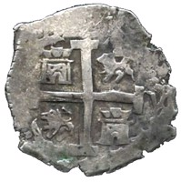 obverse of 2 Reales - Felipe V (1729 - 1747) coin with KM# 32a from Peru.