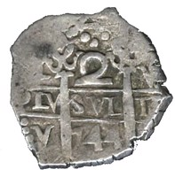 reverse of 2 Reales - Felipe V (1729 - 1747) coin with KM# 32a from Peru.