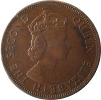 obverse of 5 Mils - Elizabeth II - 1'st Portrait (1955 - 1956) coin with KM# 34 from Cyprus. Inscription: QUEEN ELIZABETH THE SECOND