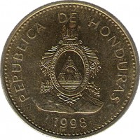 obverse of 10 Centavos (1995 - 2007) coin with KM# 76.3 from Honduras. Inscription: REPUBLICA DE HONDURAS REPUBLICA DE HONDURAS, LIBRE, SOBERANA E INDEPENDIENTE 15 DE SEPTIEMBRE 1821 2002