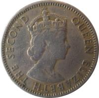 obverse of 50 Mils - Elizabeth II - 1'st Portrait (1955) coin with KM# 36 from Cyprus. Inscription: QUEEN ELIZABETH THE SECOND