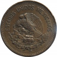 obverse of 20 Centavos - Type 1 National Emblem (1943 - 1955) coin with KM# 439 from Mexico. Inscription: ESTADOS UNIDOS MEXICANOS