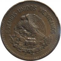 obverse of 20 Centavos - Type 1 National Emblem (1943 - 1955) coin with KM# 439 from Mexico. Inscription: ESTADOS UNIDOS MEXICANOS