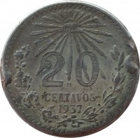 reverse of 20 Centavos (1920 - 1943) coin with KM# 438 from Mexico. Inscription: 20 CENTAVOS 1937