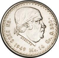 reverse of 1 Peso (1947 - 1949) coin with KM# 456 from Mexico. Inscription: .UN PESO 1947 Mo.14 Gr. 0.500. MORELOS